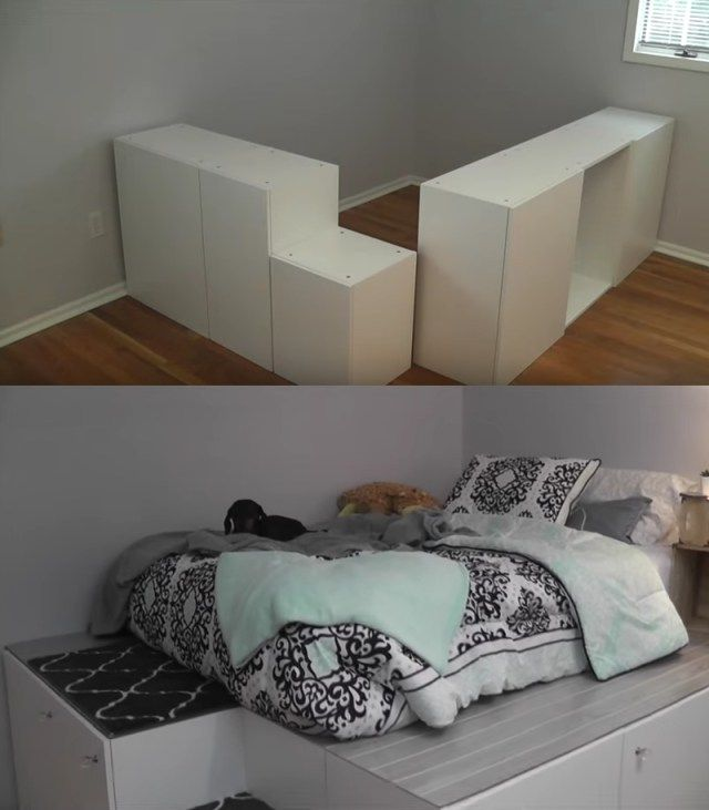 Platform Bed From Ikea Kitchen Cabinets