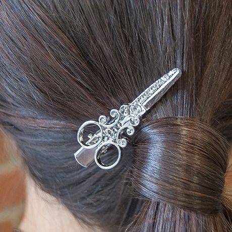 Scissor Hair Clips Silver With Swarovski Crystals 2 Pack Scissors Shears Hairdressers Style Styling Jewelry