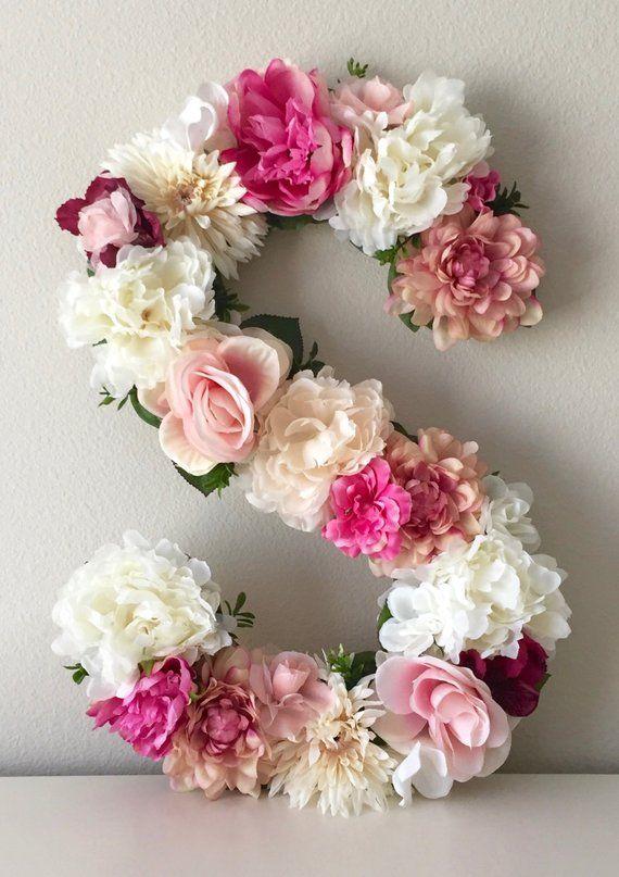 Photo of Wedding Decor, Flower Monogram, Floral Letter, Flower Letter, Bridal Letter, Wedding Monogram, Custom Flower Initials, Head Table Monogram