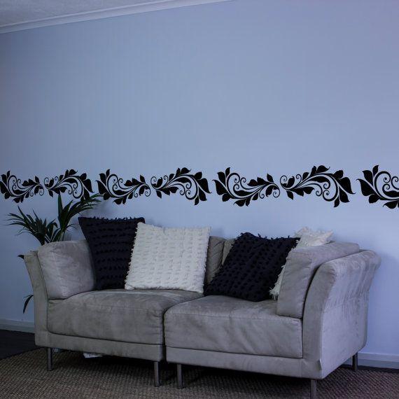 Victorian Floral Curves Vinyl Wall Decal Border For Interior - Vinyl wall decals borders