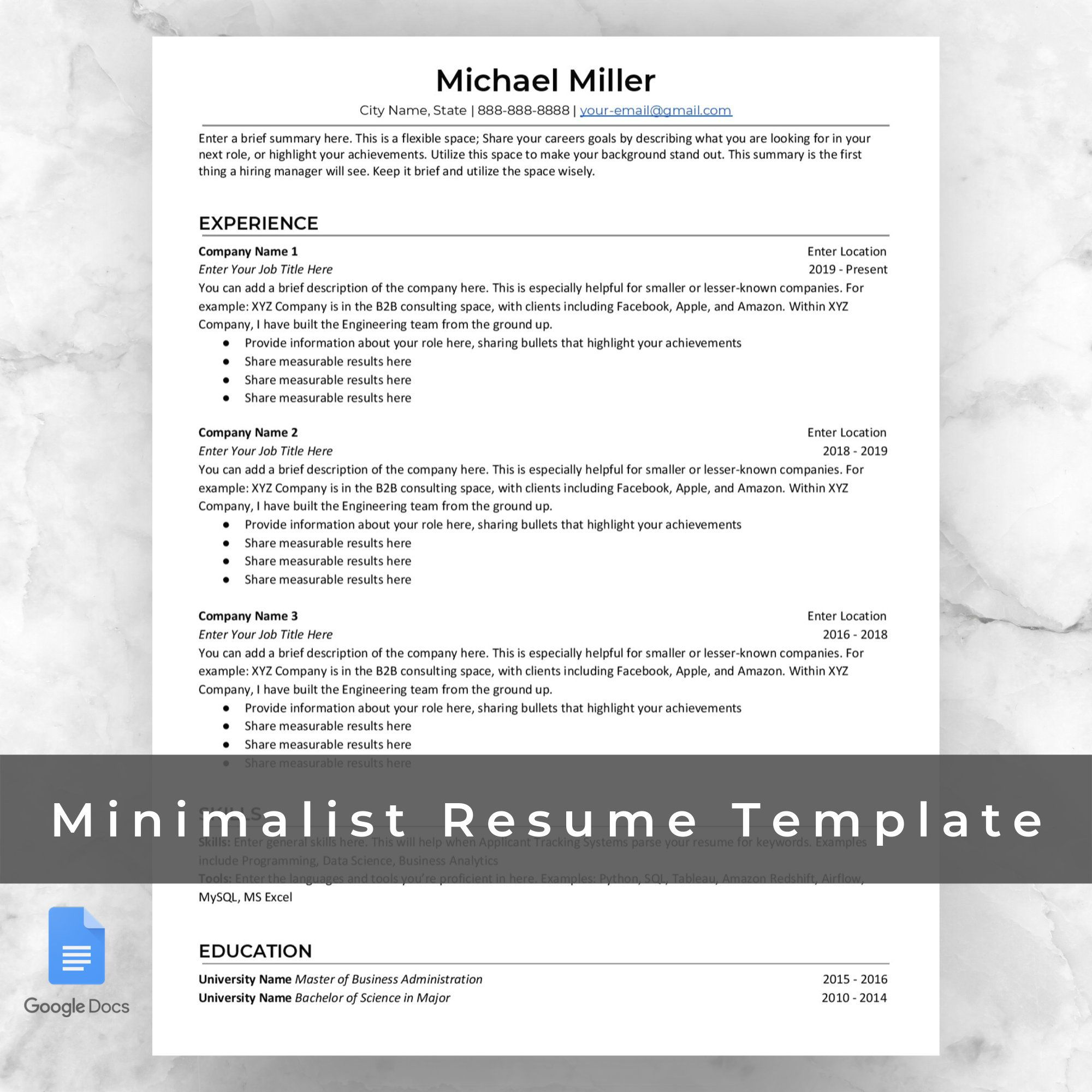 Professional Resume Template Google Docs / Functional