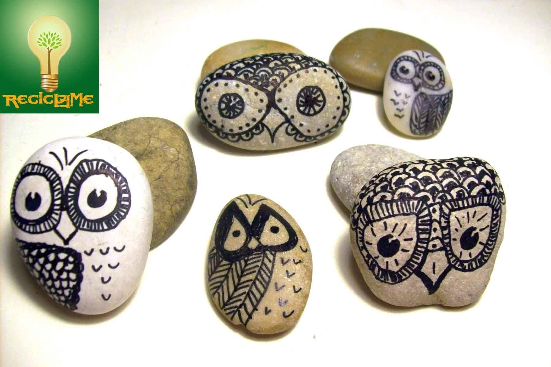 Como pintar un buho de la suerte sobre piedra de r o for Tecnica para pintar piedras