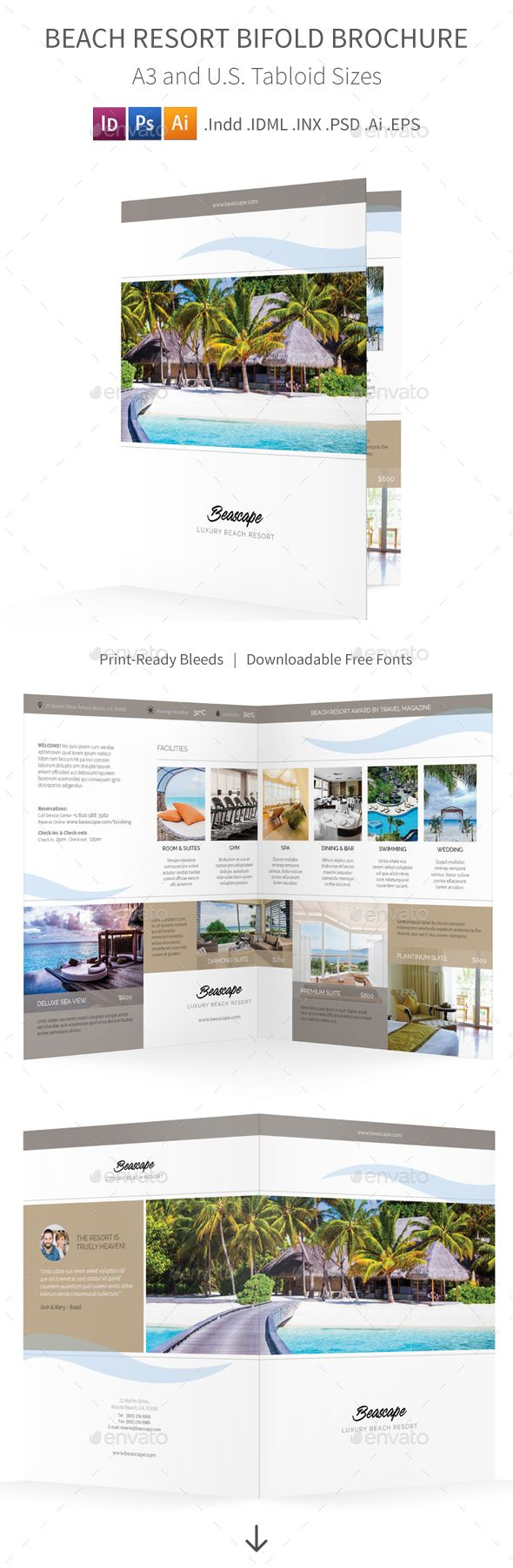 Beach Resort Bifold  Halffold Brochure   Brochure Template