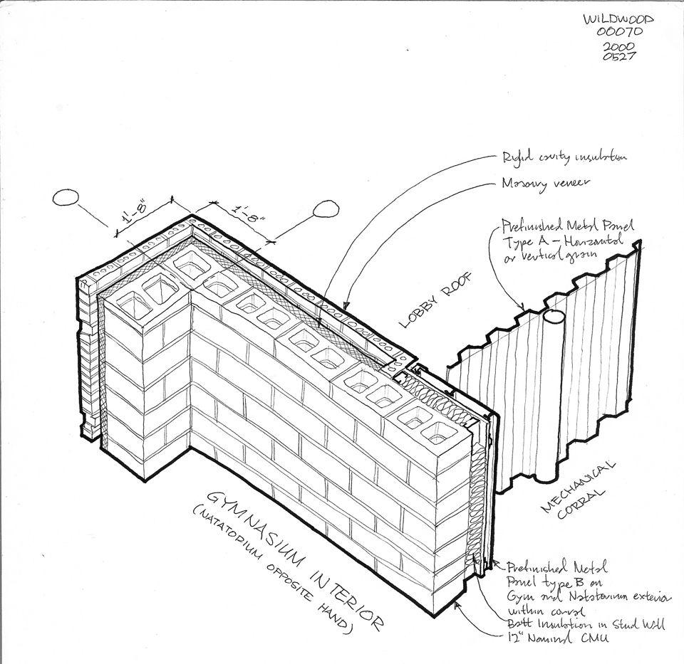 Face Brick Metal Panel Transition Study Concrete Wall Metal