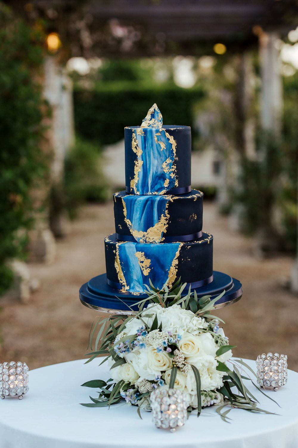 Blue and Gold Geode Wedding Cake A Fairytale Wedding at