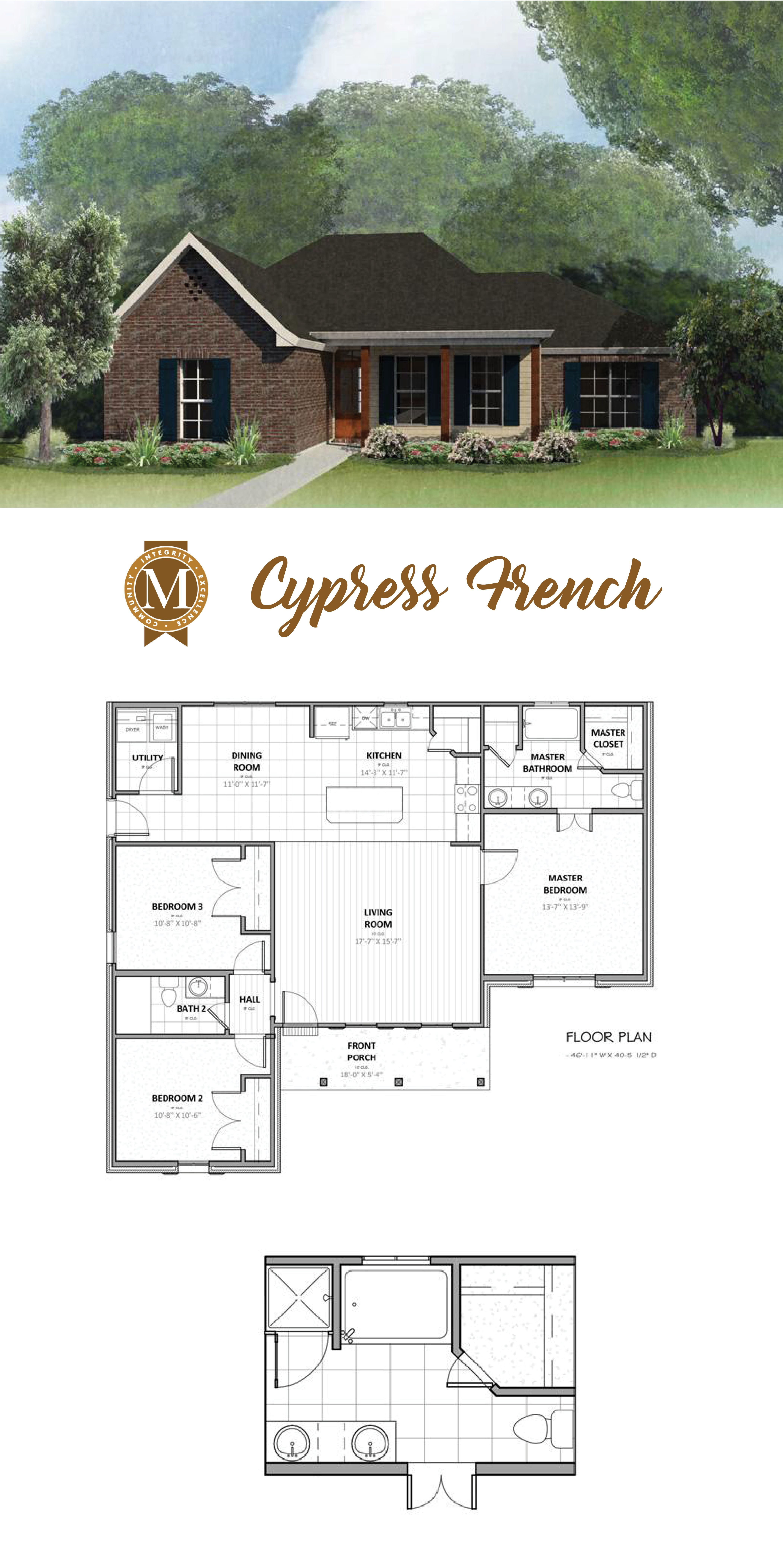 Living Sq Ft 1 450 Bedrooms 3 Baths 2 Lafayette Lake Charles Baton Rouge Louisiana House Plans French Cottage Ranch House Plans