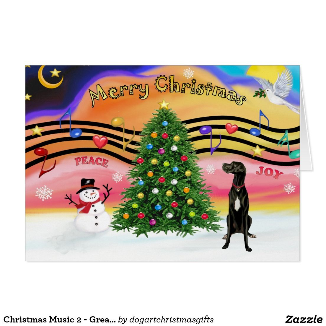 Christmas Music 2 - Great Dane (black uncropped) Card | Christmas ...