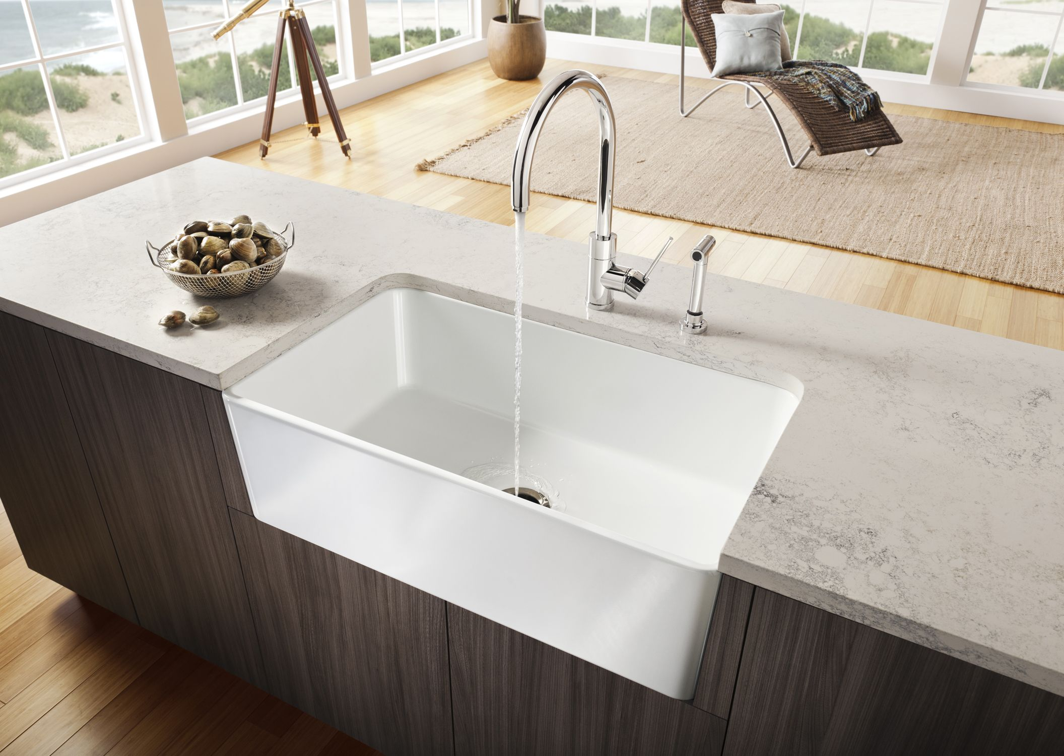 Blanco Sink W Satin Side Spray Faucet And Soap Dispenser Con
