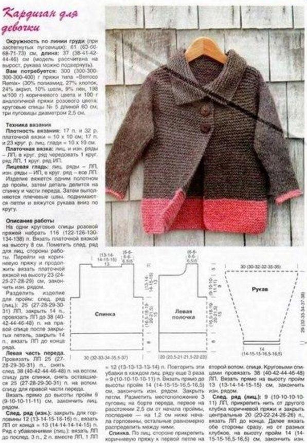 Вяжем спицами кардиган для девочек с описанием и схемами