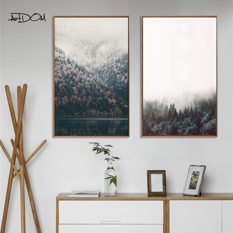 Latest arrival Artdom No Frame Canvas Painting Prints Tall Trees ...