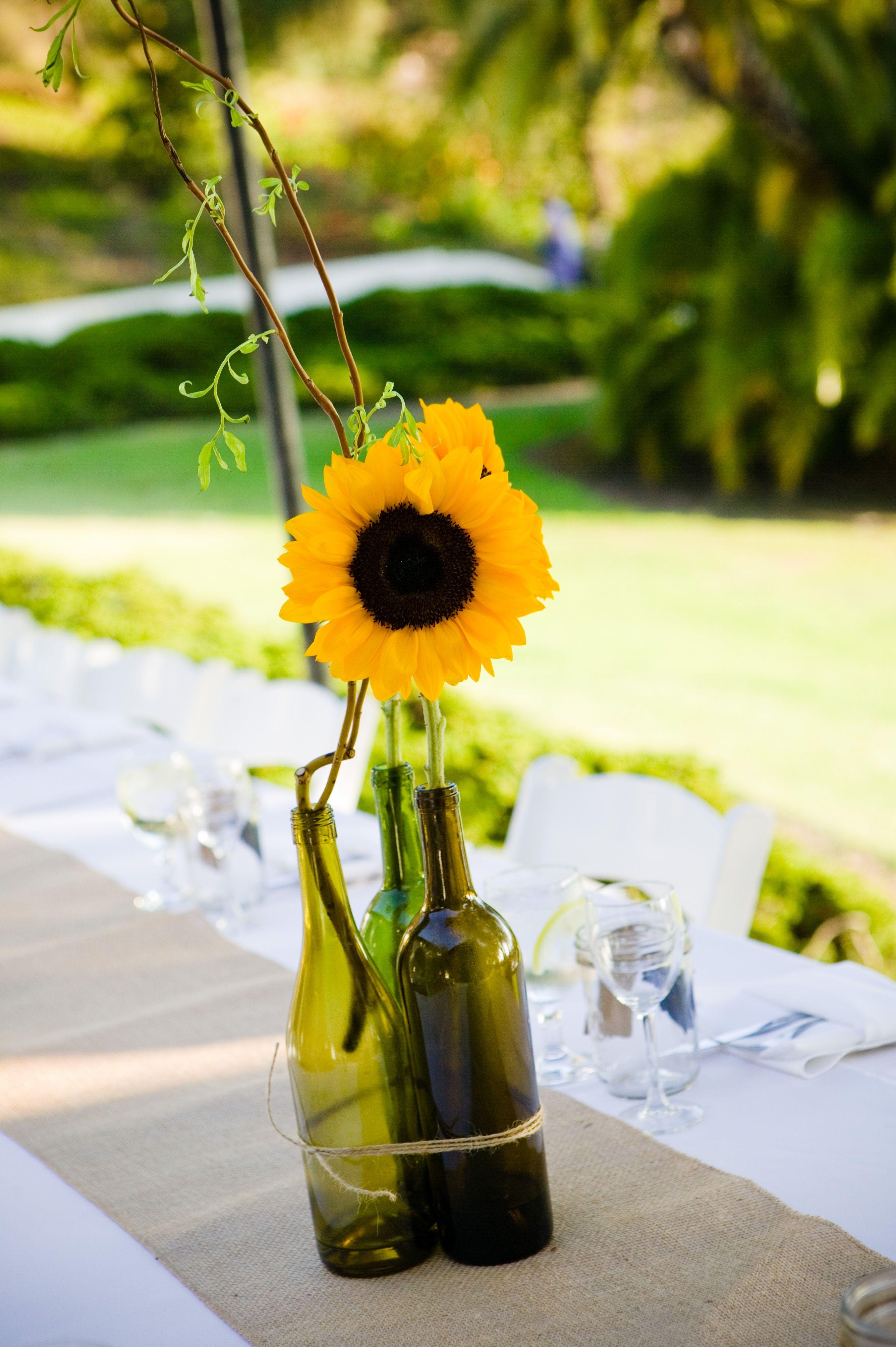 Sunflower And Wine Bottle Centerpiece For Rustic Wedding Diy Sunflowers Rusticwedding