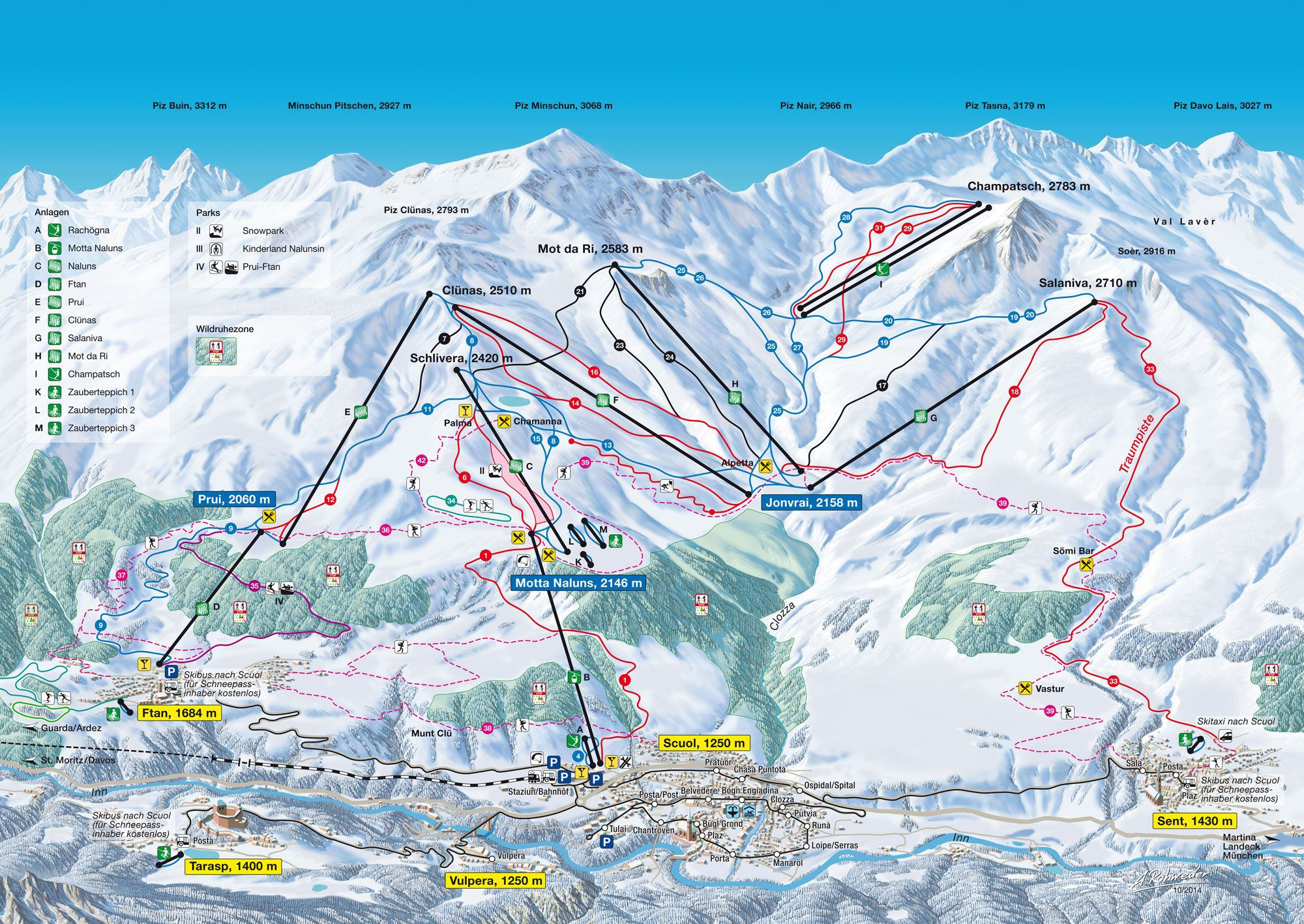 Pistenplan Scuol / Piste map Scuol | Skigebiete ...
