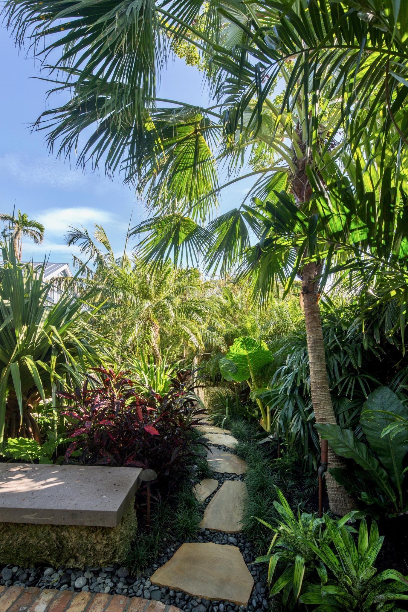 Key West S Secret Garden A Modern Landscape For An Author S Victorian Cottage Tropical Backyard Tropical Landscaping Modern Landscaping
