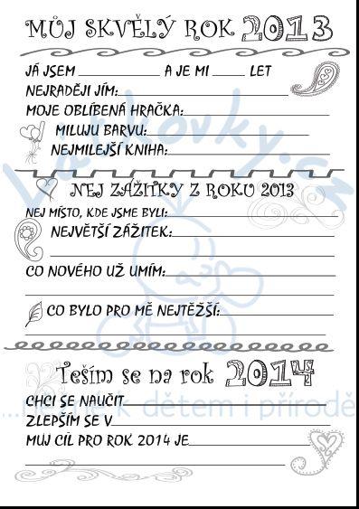 Ohlédnutí za rokem 2013 s dětmi - pracovní list