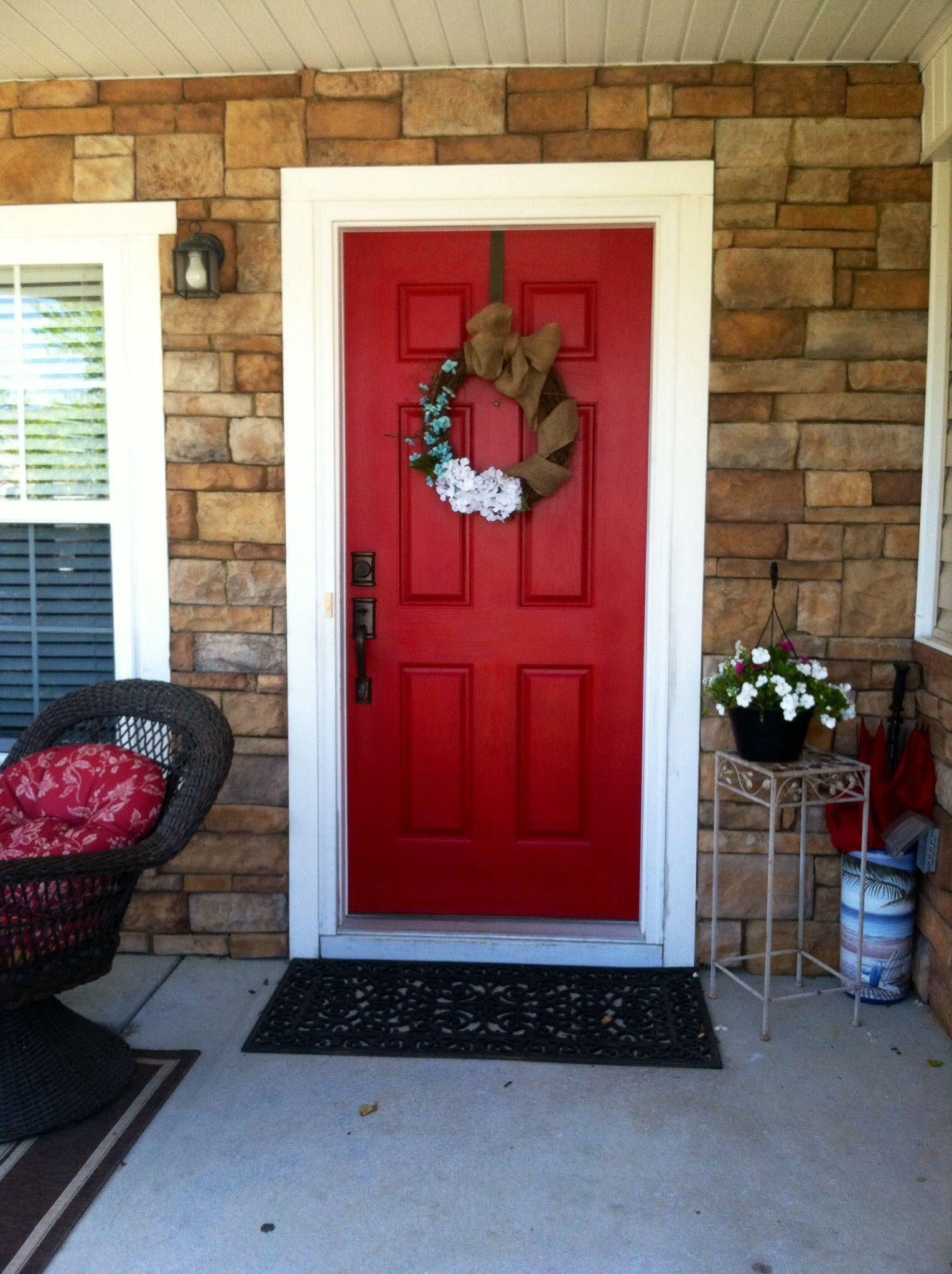 My red door project. Cut Ruby signature Valspar Color. Door was dark ...