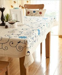 Embroidery flower table cloth Cotton Linen table by Cosplayclub, $21.00