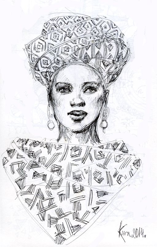 An African woman in a turban pen on paper #pen #paper #