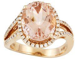 4.91ct Oval Brazilian Morganite With .31ctw Round Diamond 14k Rose Gold Ring