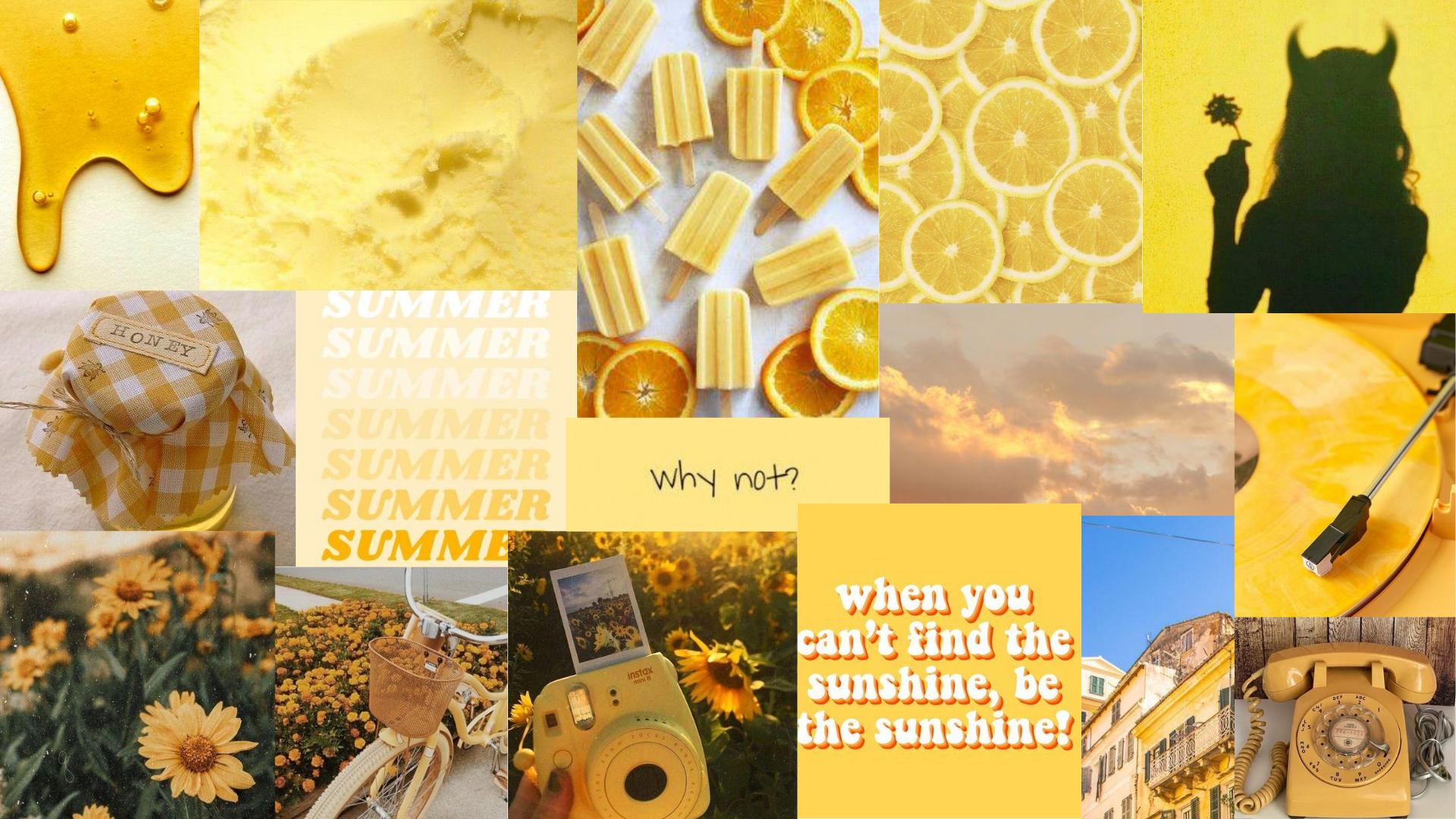 Yellow Mood Board Aesthetic Desktop Wallpaper Cute Desktop Wallpaper Iphone Wallpaper Tumblr Aesthetic