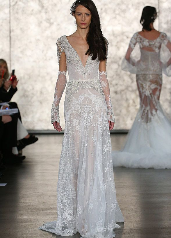 You Ll Feel Like A Queen In This Stunning Inbal Dror Wedding Dress With An Embel Inbal Dror Wedding Dresses Wedding Dress Reveal Long Sleeve Wedding Dress Lace