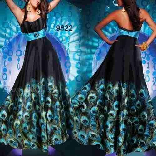 impactante vestido noche estampado pavo real moda pasion
