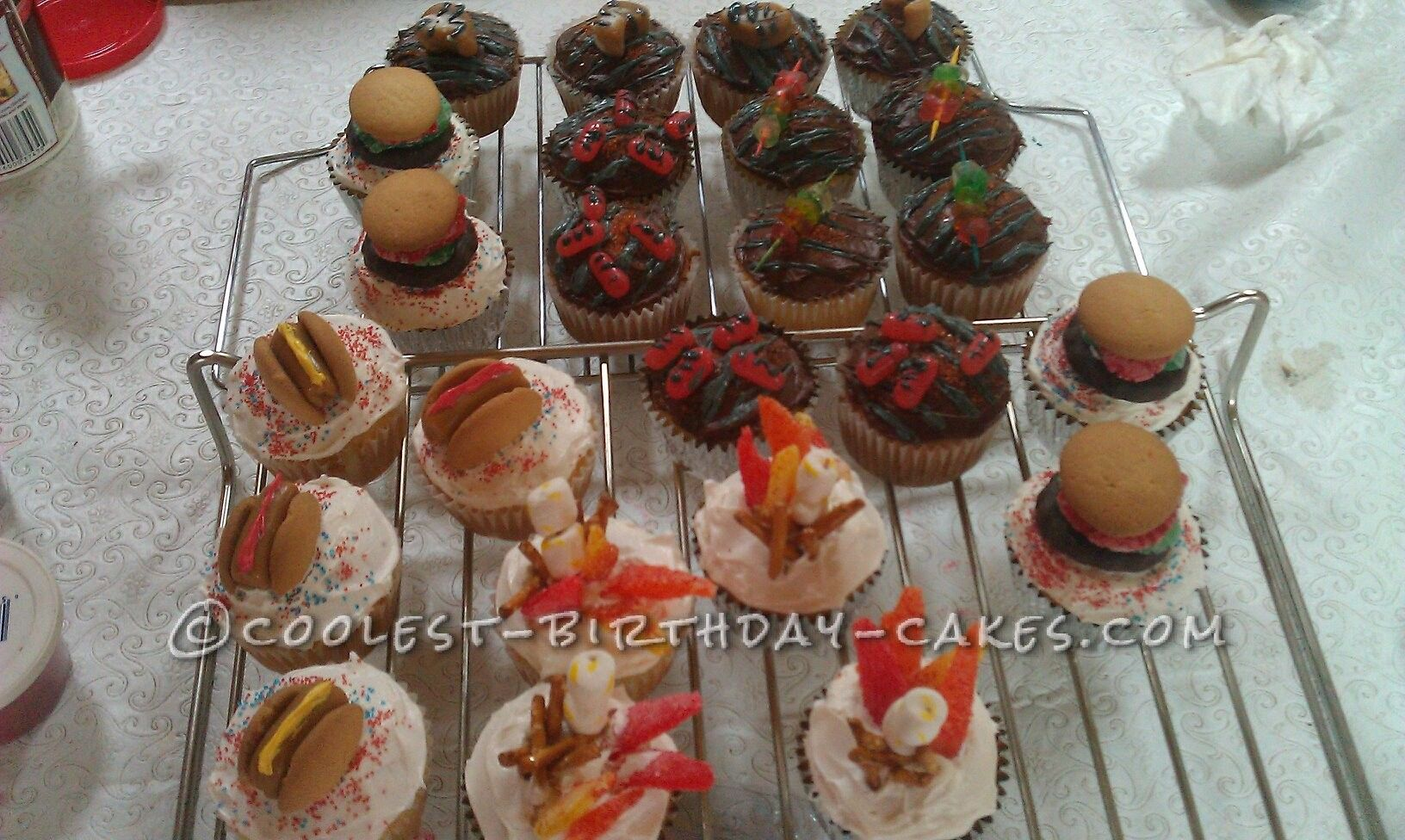 Coolest BBQ Fun Day Cupcakes... This website is the Pinterest of birthday cake ideas