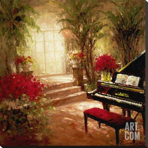 Illuminated Music Room Stretched Canvas Print by Foxwell at Art.com  front door area or a side door off a bedroom?
