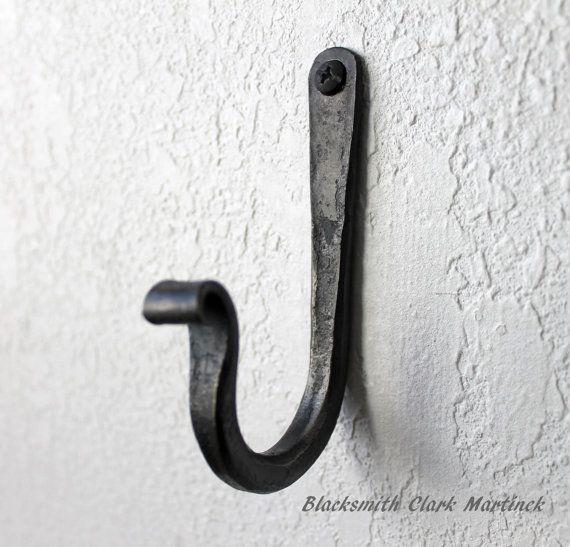 Single Wall Hook Black Metal Hook Blacksmith Hook Wall Etsy In