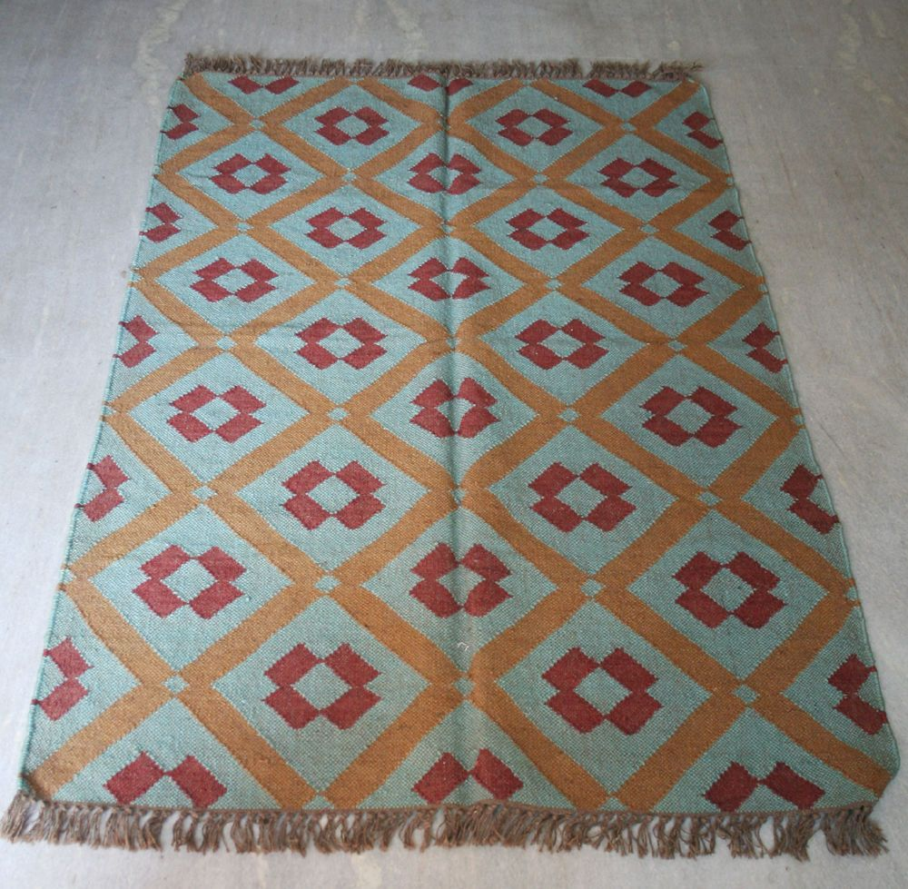 Amazing 4x6 Feet Wool Jute Area Rugs Kilim Tribal Carpets Handmade Yoga Mat Dari  Carpet