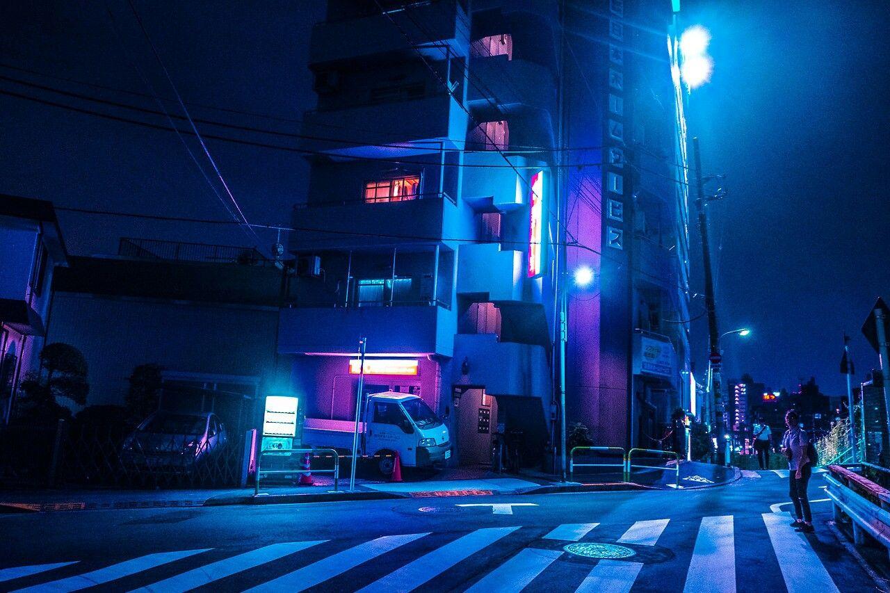 Midnight Blue Neon Blue Aesthetic Wallpaper