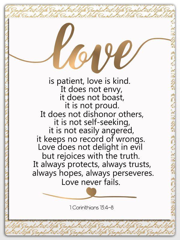 Love is Patient Love is Kind Art 1 Corinthians 13:4-8 Bible | Etsy