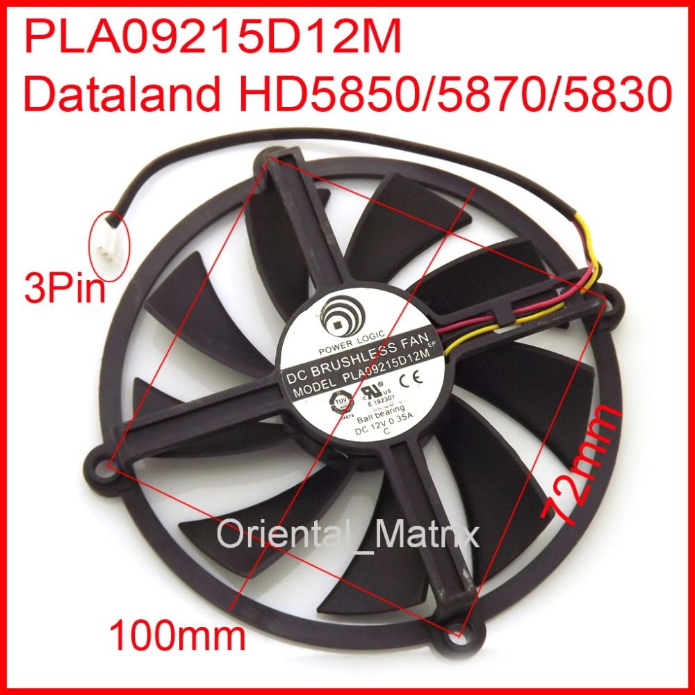 PLA09215D12H PLA09215D12M 12V 0.55A 3Wire 3Pin For Dataland HD5870 ...
