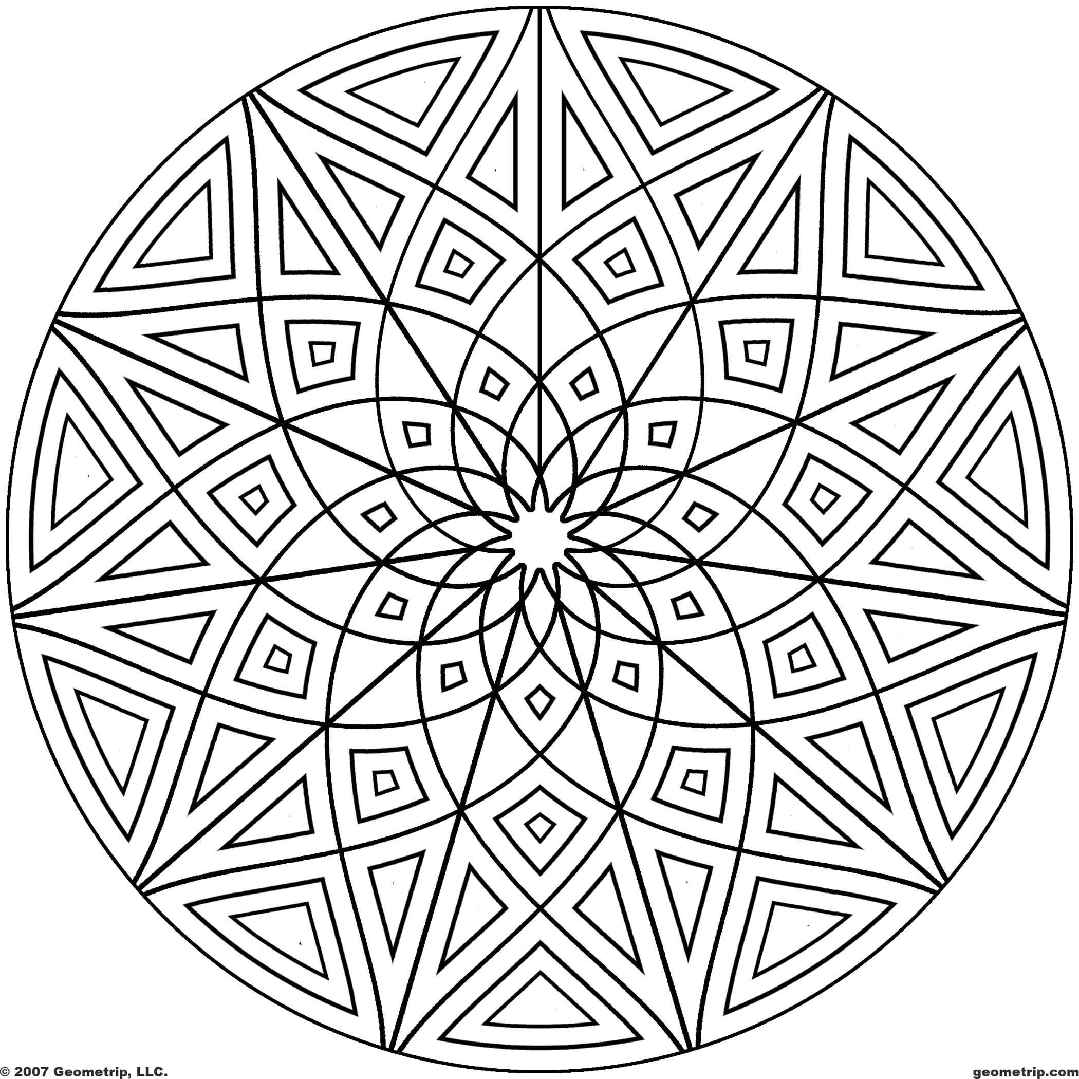 free printable coloring pages mandala designs | Kaleidoscope Coloring Pages | Geometrip.com - Free ...