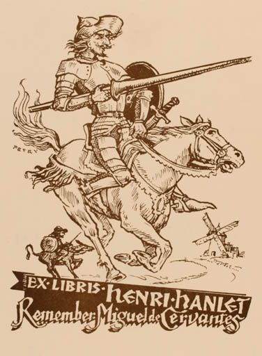 Don Quixote - Exlibris by Bela Petry for Henri Hanlet