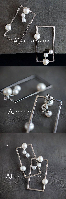 Pendientes de plata esterlina Pendiente cuadrado único con perlas rectangulares Pendientes largos …