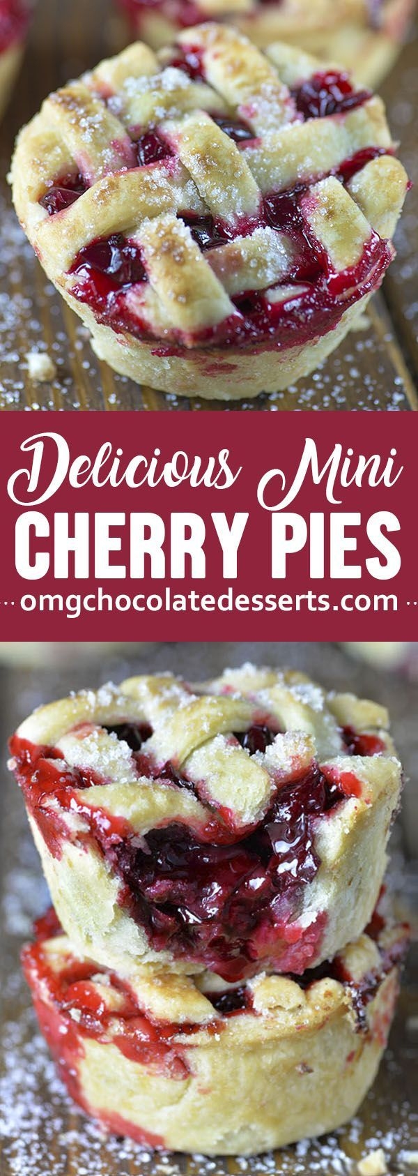 Cherry Pies These mini cherry pies are baked in a muffin tin so they're easy to make and even easier to take to a party, potluck, or picnic.These mini cherry pies are baked in a muffin tin so they're easy to make and even easier to take to a party, potluck, or picnic.