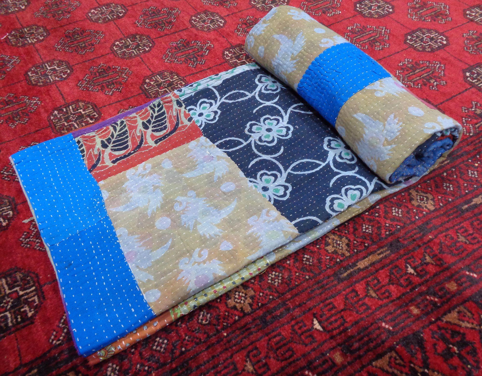Ethnic Bedspread Ralli King SIze Vintage Kantha Quilt Indian Handmade Blanket