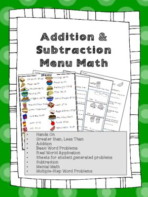 Menu Math Addition Amp Subtraction Money Real World Application Word Problems From Heatherjohnson3 Math Worksheets Printable Math Worksheets Word Problems