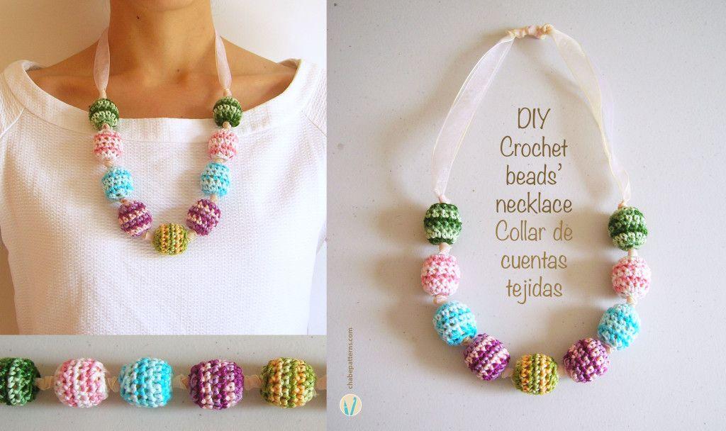 DIY Crochet beads necklace/ Collar de cuentas tejidas, hazlo tú ...