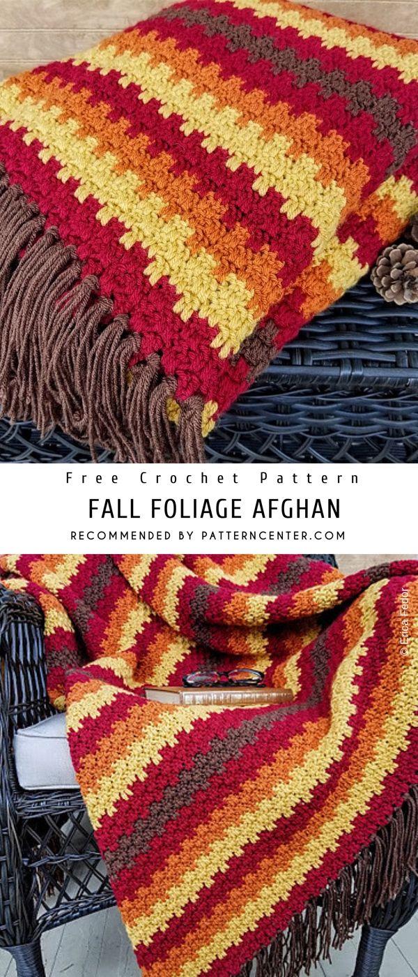 Fall Foliage Afghan Crochet Pattern Free #afghans