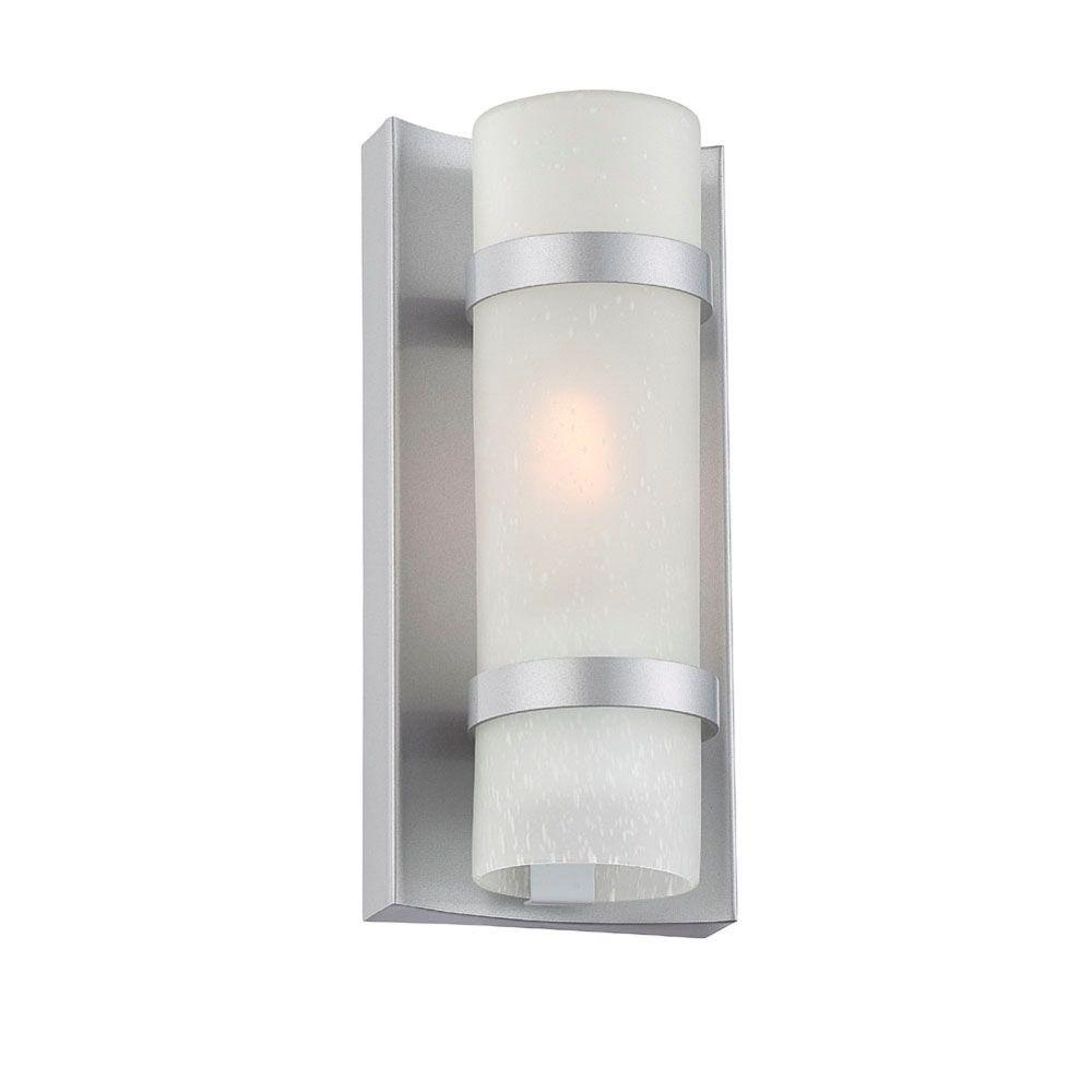 Apollo collection light brushed silver outdoor wall mount light