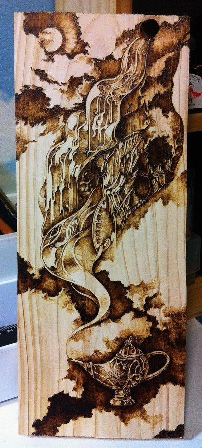 pyrography(wood burning) on hinoki.