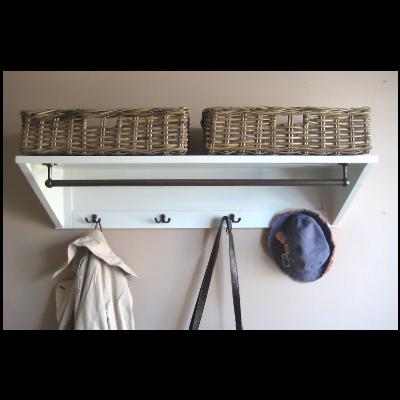 Best Pine Wall Shelf Rail Hooks Hallway Furniture Large 400 x 300
