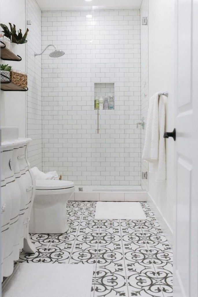 9 Serene White Bathroom Design Ideas That Full Of Visual Interest 7 Whitebathroom Bathroo In 2020 Black And White Tiles Bathroom White Bathroom Tiles Tile Bathroom