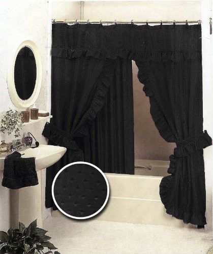 Double Swag Fabric Shower Curtain And Liner Black Ebay Fabric