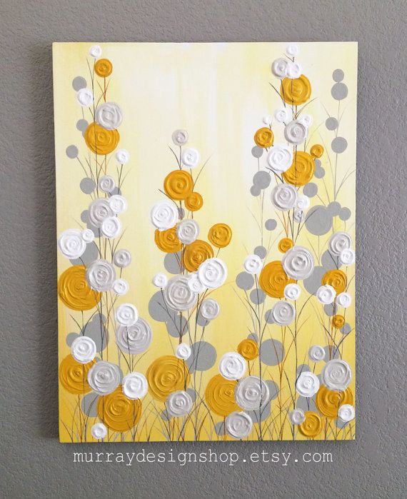 Mustard Yellow and Gray Abstract Flower Art, Textured ...