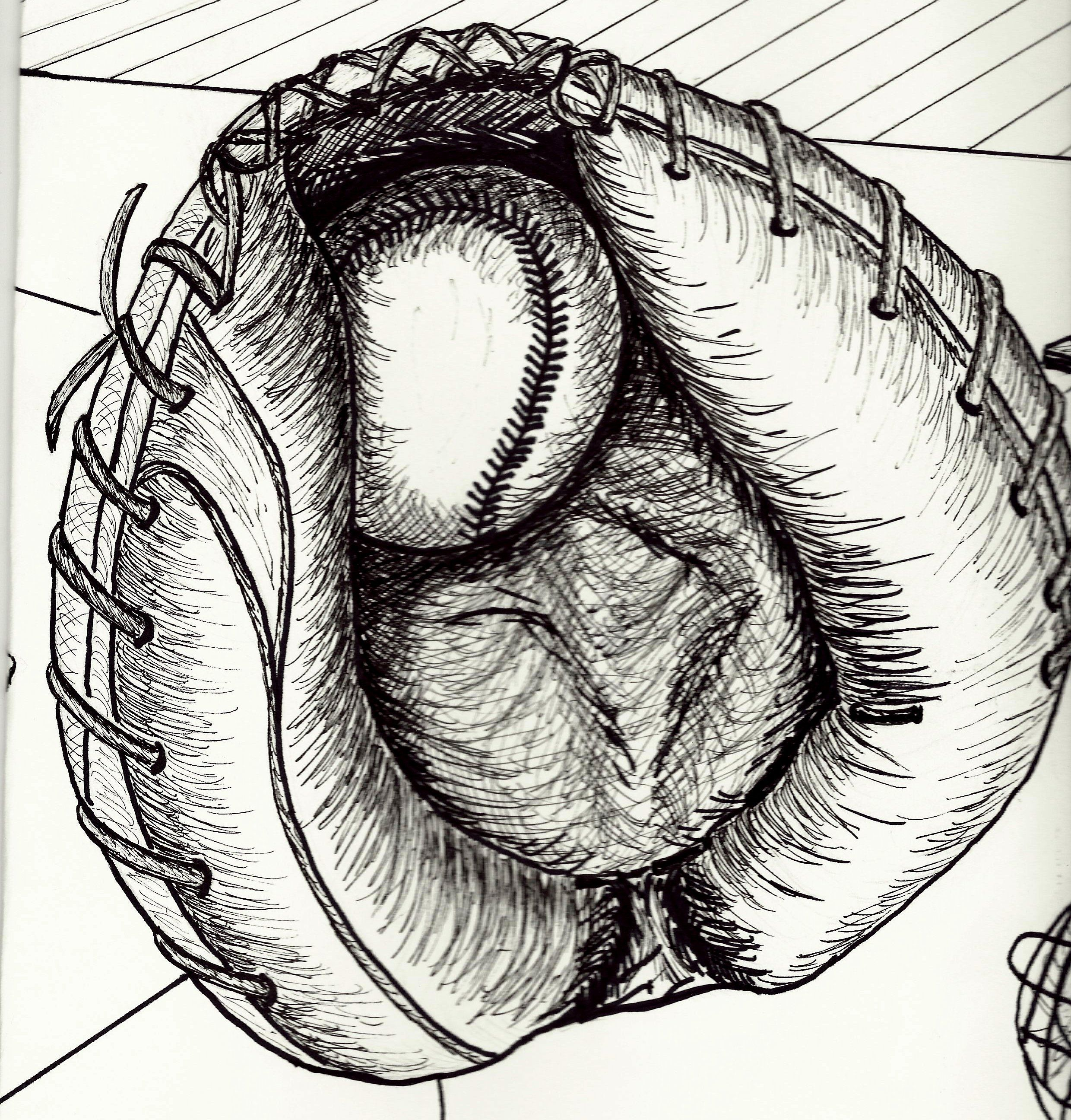 My Drawing Of A Catchers Baseball Glove Done For 2d Foundations