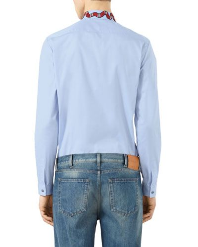 M0GTG Gucci Snake-Embroidered Button-Down Shirt, Blue Tenue Hommes, Robe  Chemise 2ab4a157716