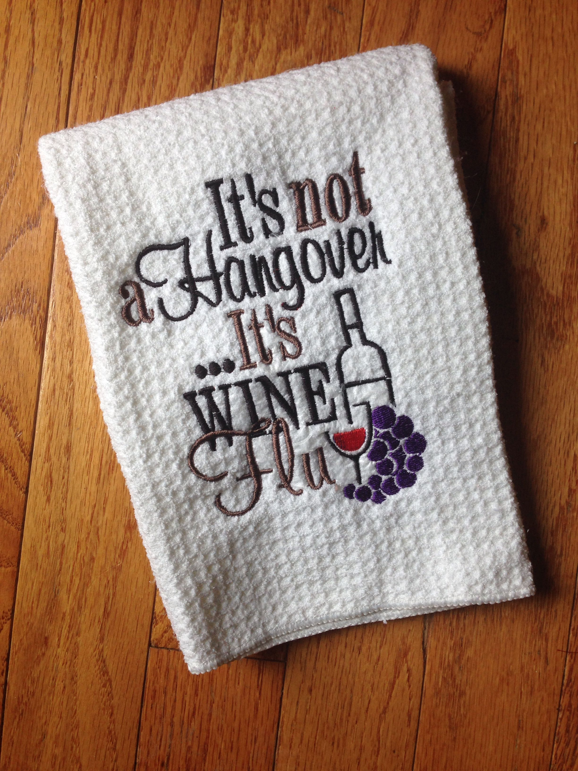 Custom embroidered wine kitchen or bar towel $15 shipped | Custom
