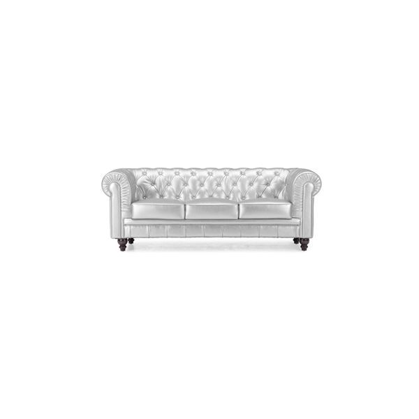 Silver Couch Faux Leather Couch Faux Leather Sofa Tufted Couch